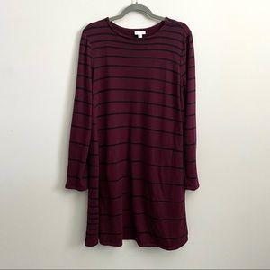 J Jill Maroon Striped Casual Dress With Pockets